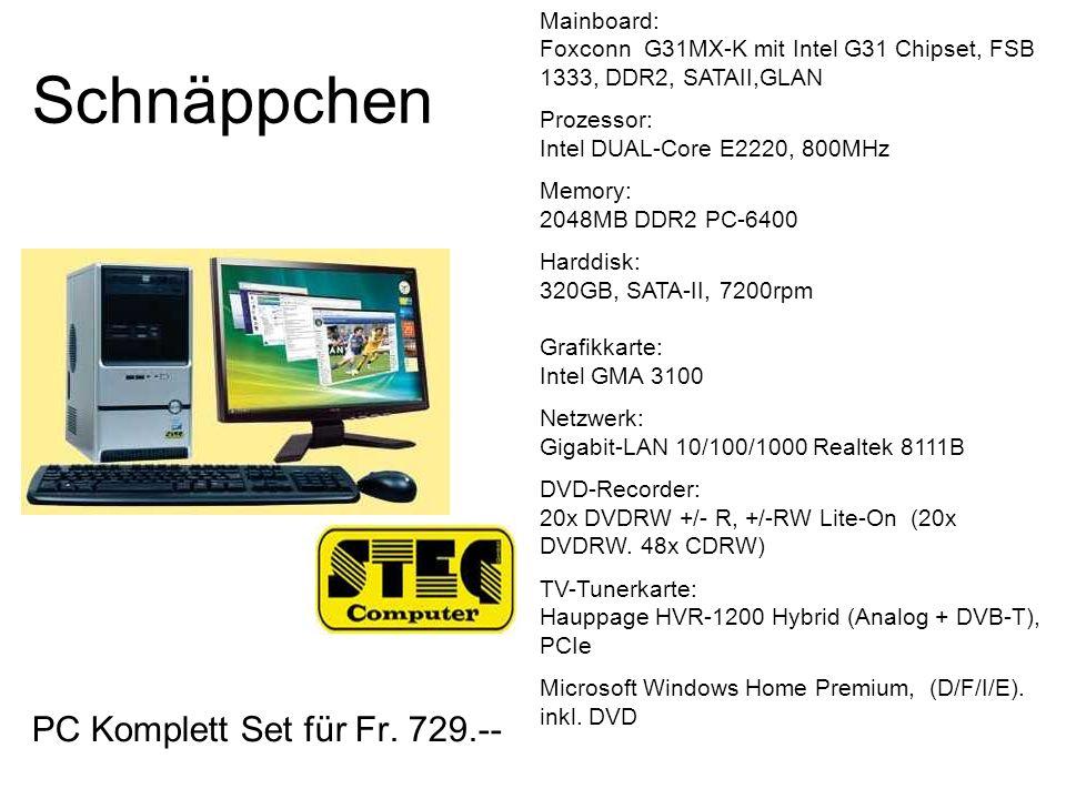 Schnäppchen PC Komplett Set für Fr. 729.--