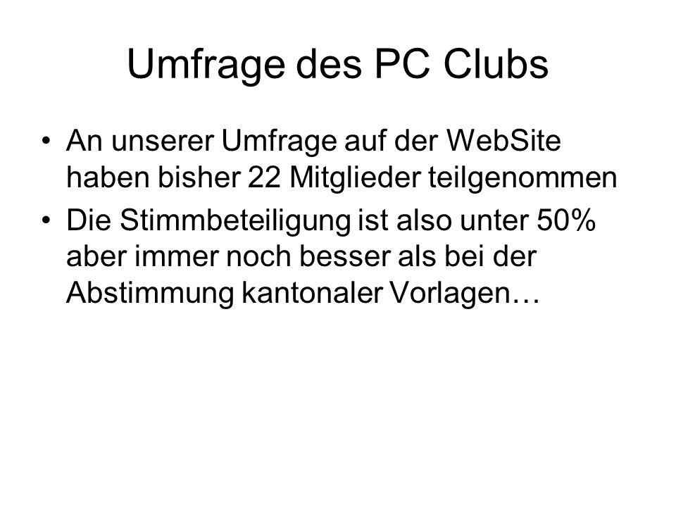 Umfrage des PC Clubs An unserer Umfrage auf der WebSite haben bisher 22 Mitglieder teilgenommen.