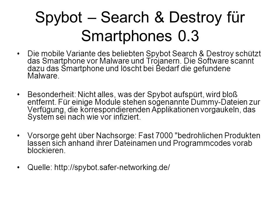 Spybot – Search & Destroy für Smartphones 0.3
