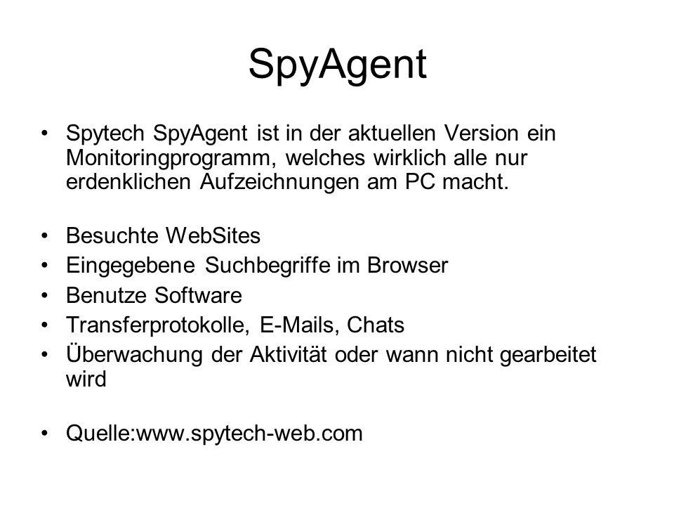 SpyAgent Spytech SpyAgent ist in der aktuellen Version ein Monitoringprogramm, welches wirklich alle nur erdenklichen Aufzeichnungen am PC macht.