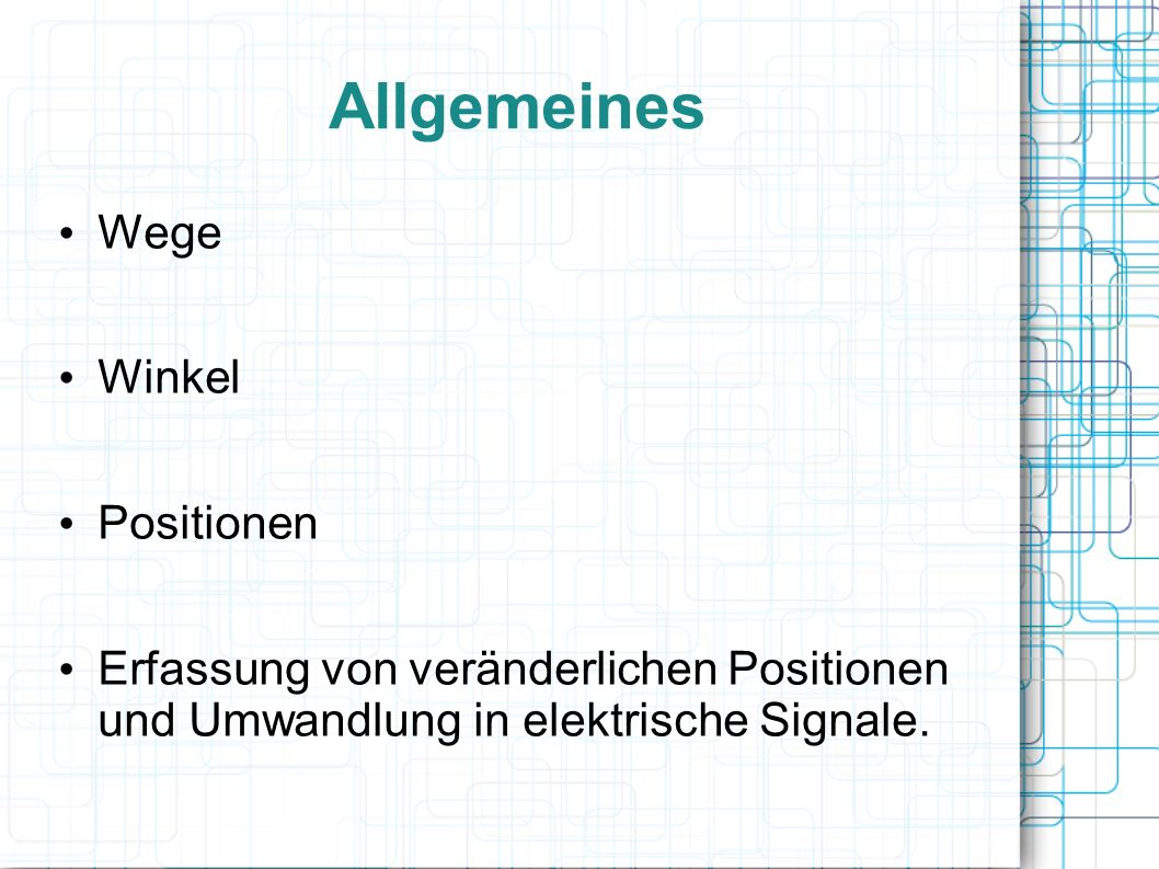 Allgemeines Wege Winkel Positionen