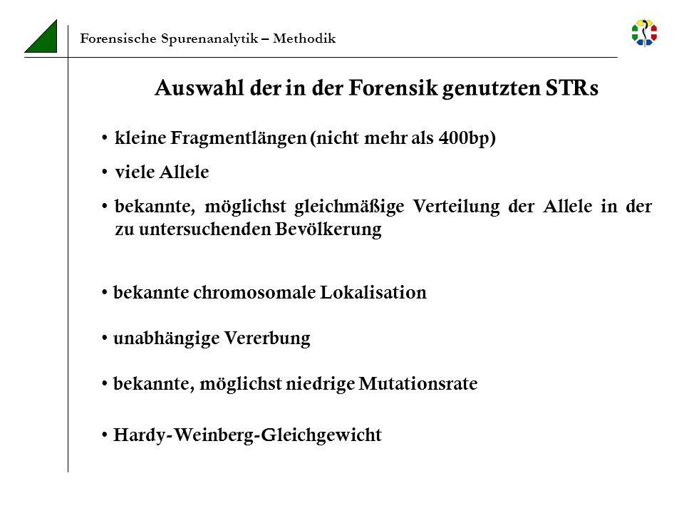 Auswahl der in der Forensik genutzten STRs