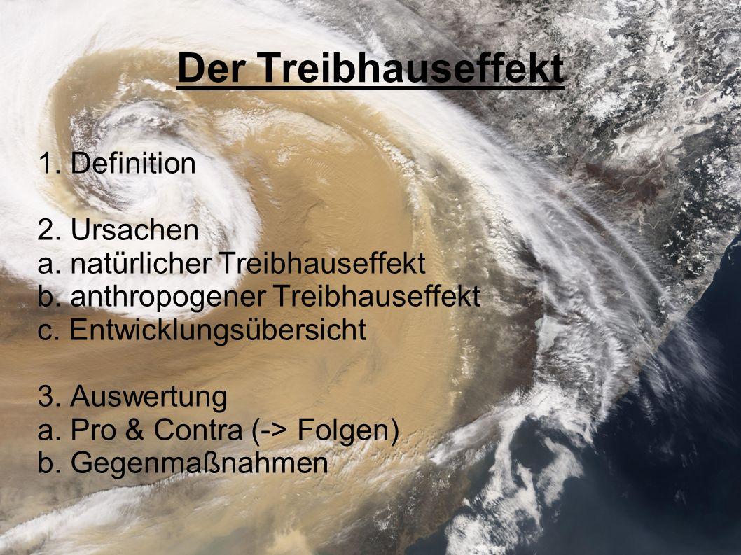 Der Treibhauseffekt 1. Definition 2. Ursachen