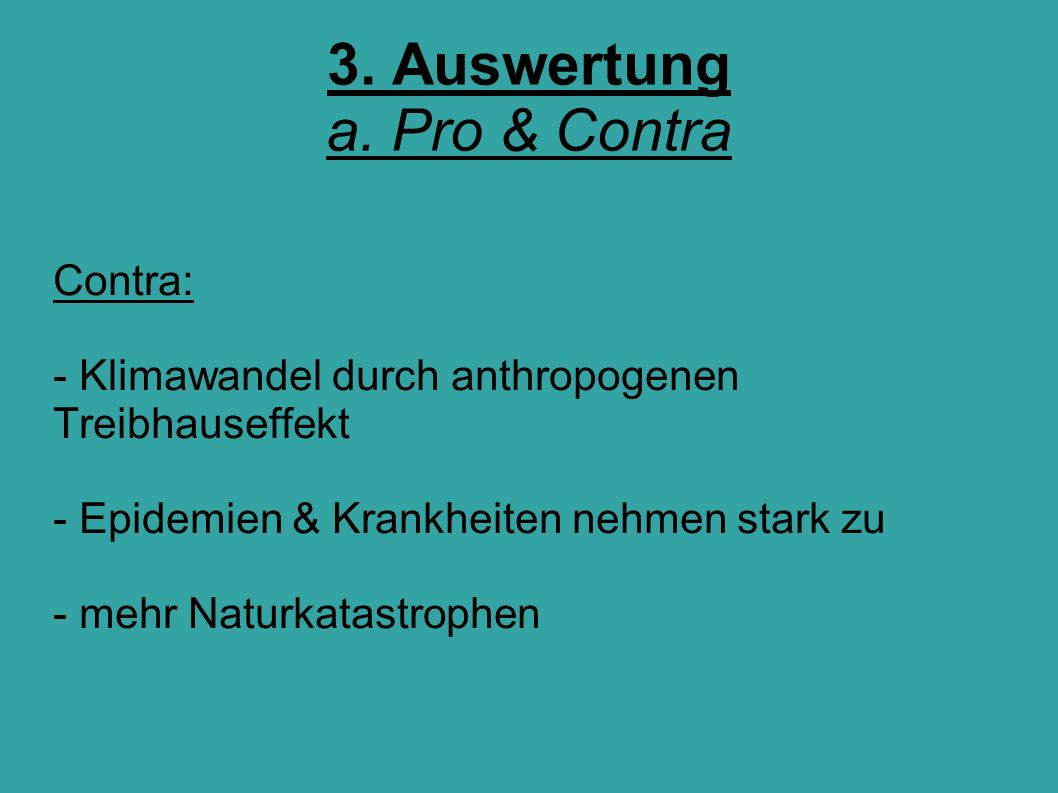 3. Auswertung a. Pro & Contra