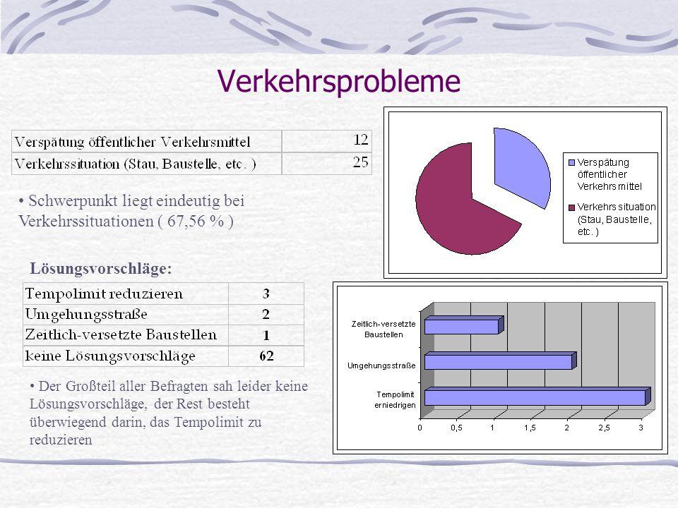 Verkehrsprobleme Schwerpunkt liegt eindeutig bei Verkehrssituationen ( 67,56 % ) Lösungsvorschläge: