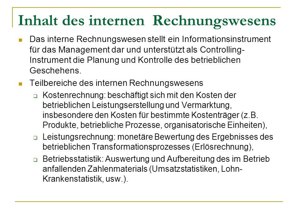Inhalt des internen Rechnungswesens