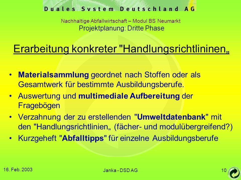 "Erarbeitung konkreter Handlungsrichtlininen"""
