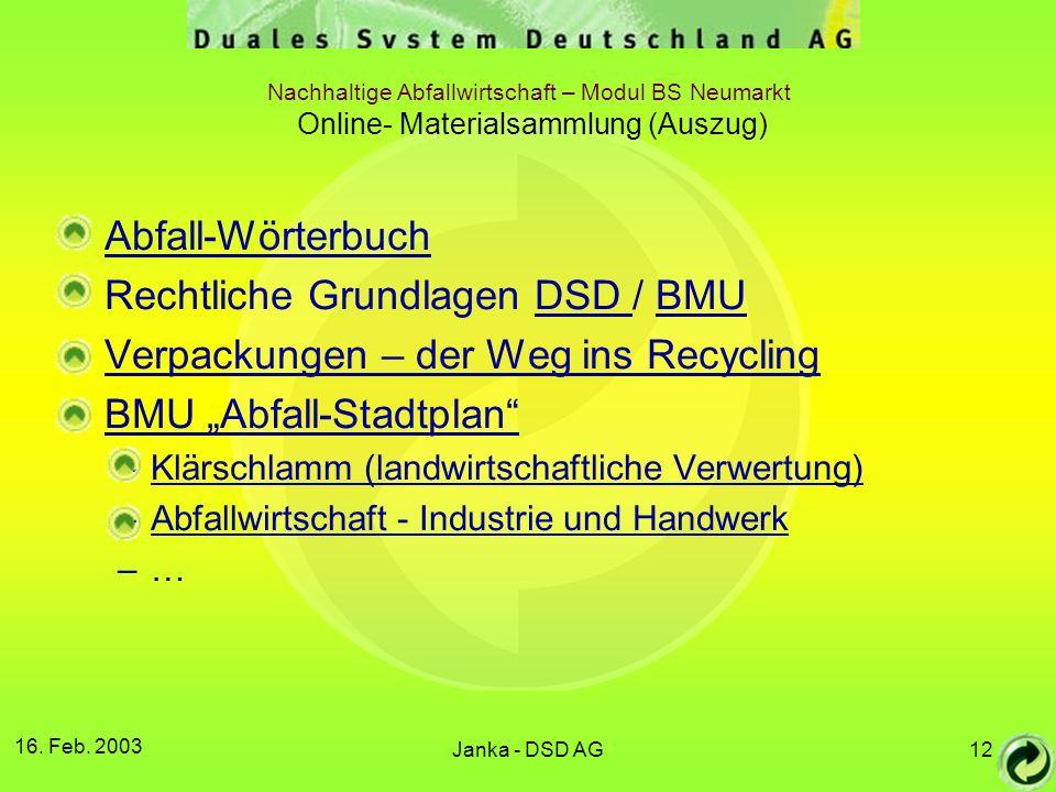 Rechtliche Grundlagen DSD / BMU Verpackungen – der Weg ins Recycling