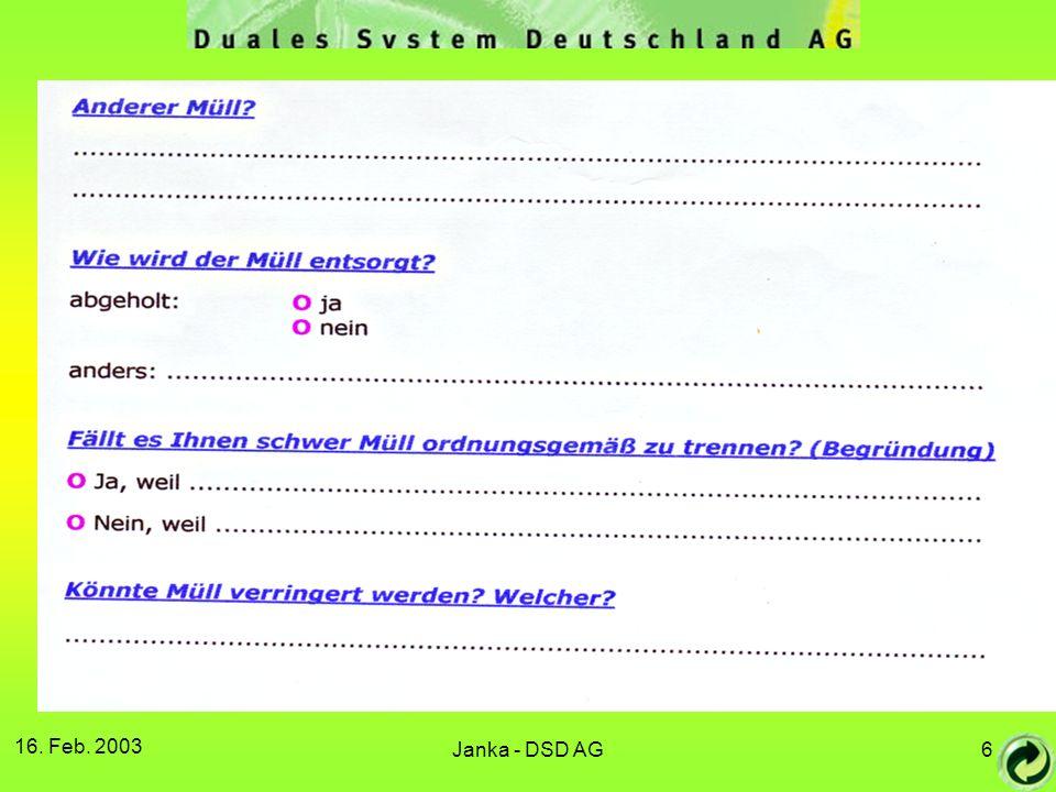 16. Feb. 2003 Janka - DSD AG
