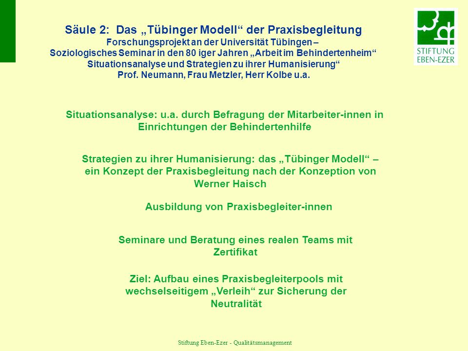 """Säule 2: Das """"Tübinger Modell der Praxisbegleitung"""