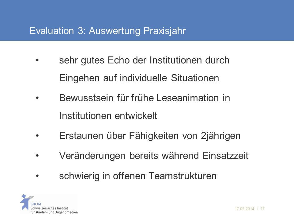 Evaluation 3: Auswertung Praxisjahr