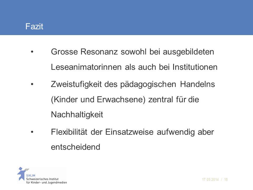 Fazit Grosse Resonanz sowohl bei ausgebildeten Leseanimatorinnen als auch bei Institutionen.