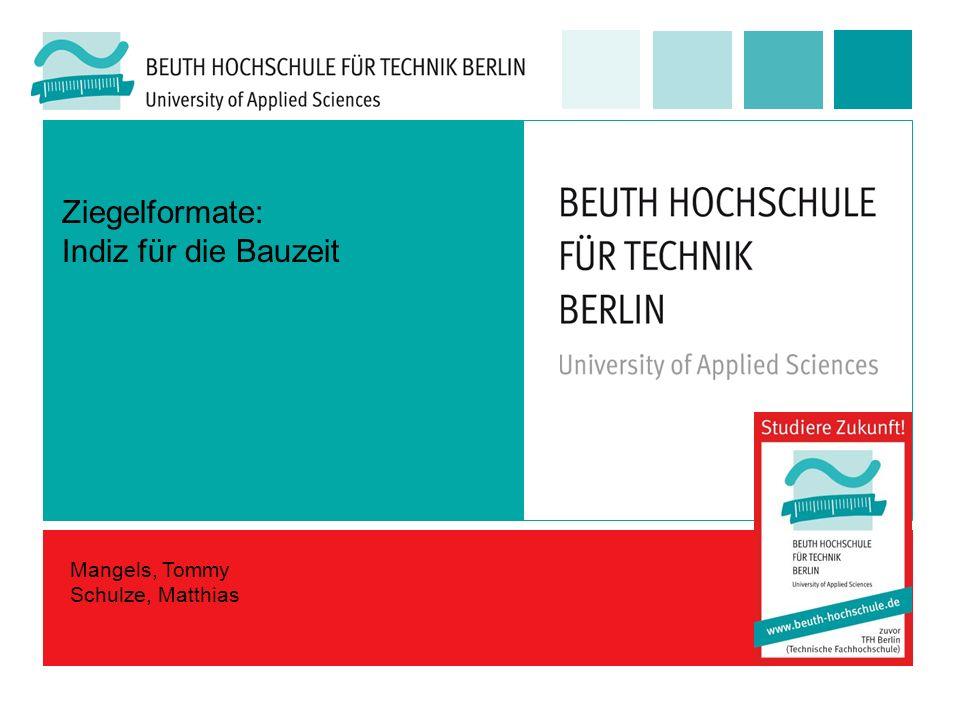 Ziegelformate: Indiz für die Bauzeit Mangels, Tommy Schulze, Matthias