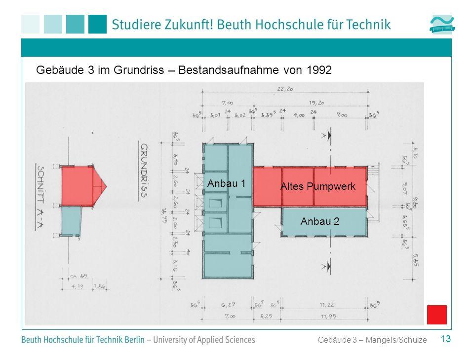 Gebäude 3 im Grundriss – Bestandsaufnahme von 1992