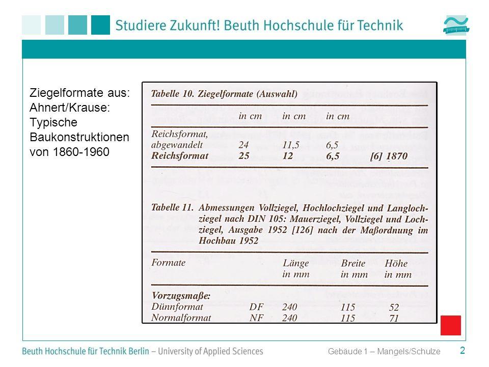 Ziegelformate aus: Ahnert/Krause: Typische Baukonstruktionen von 1860-1960