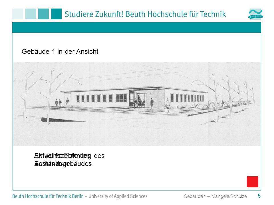 Entwurfszeichnung des Architekten Aktuelles Foto des Bestandsgebäudes