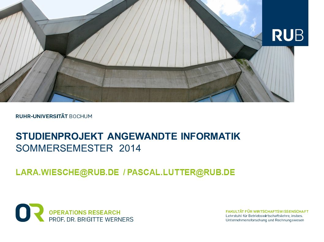 Studienprojekt angewandte Informatik Sommersemester 2014