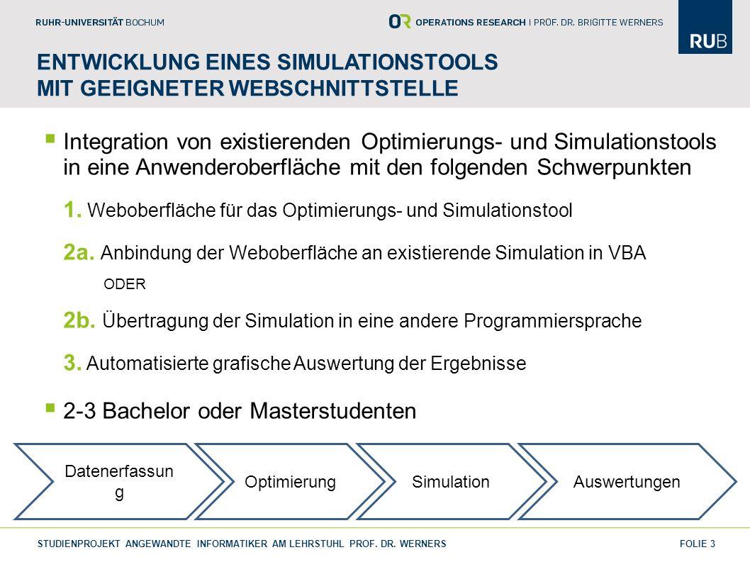 Entwicklung eines Simulationstools mit geeigneter WebSchnittstelle