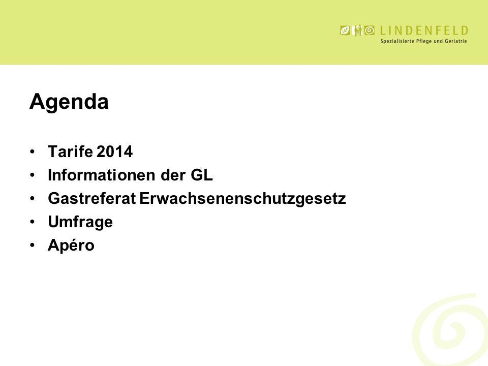 Agenda Tarife 2014 Informationen der GL