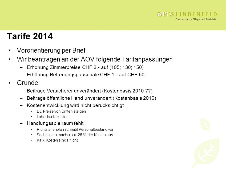 Tarife 2014 Vororientierung per Brief