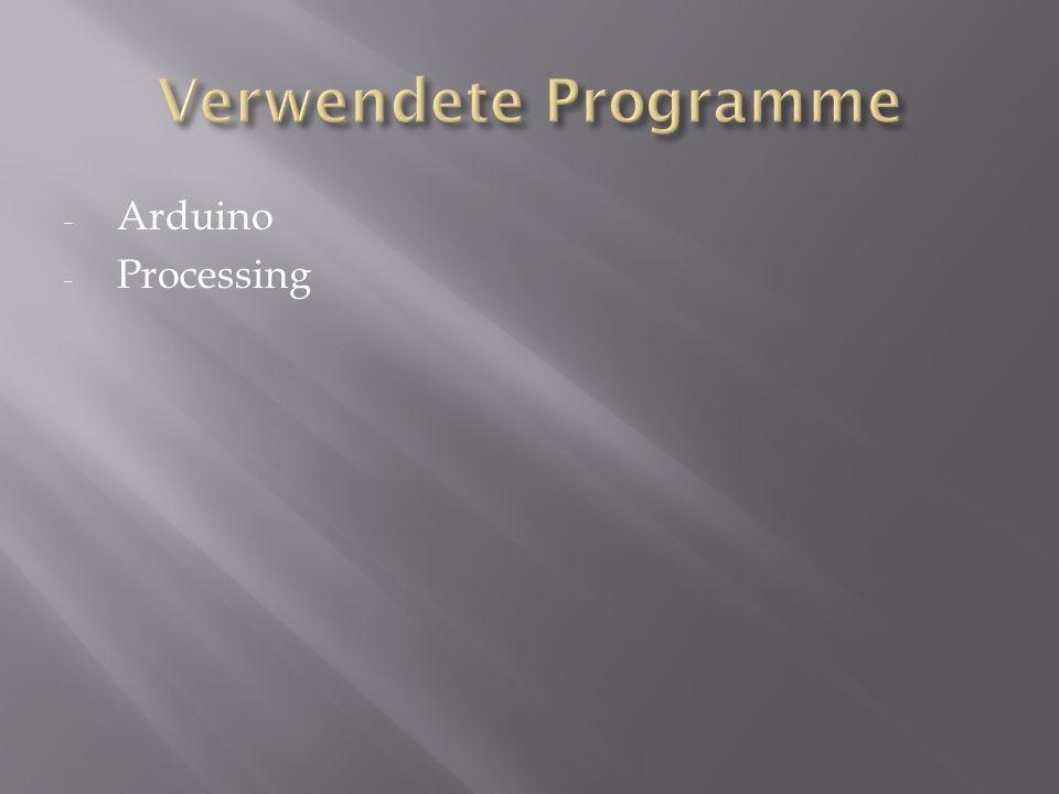 Verwendete Programme Arduino Processing