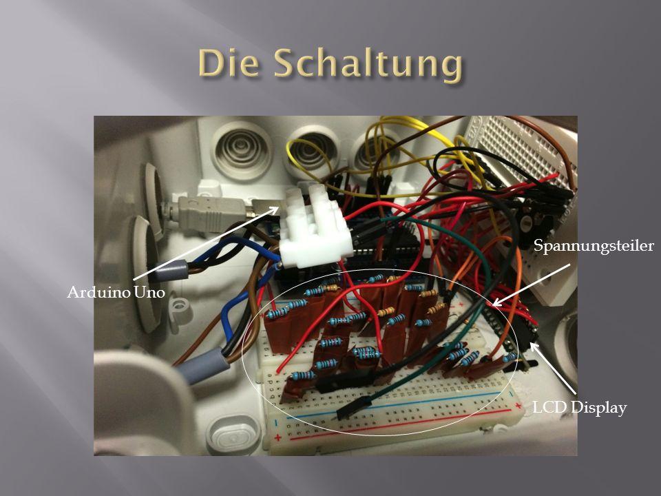 Die Schaltung Spannungsteiler Arduino Uno LCD Display