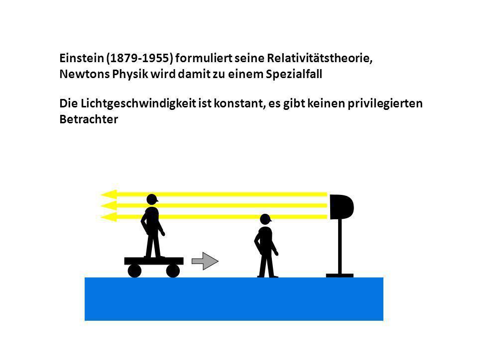 Einstein (1879-1955) formuliert seine Relativitätstheorie, Newtons Physik wird damit zu einem Spezialfall