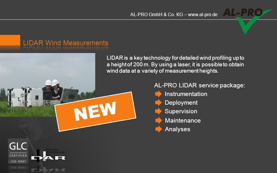 NEW LIDAR Wind Measurements AL-PRO LIDAR service package: