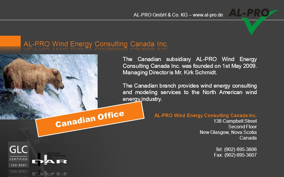 Canadian Office AL-PRO Wind Energy Consulting Canada Inc.