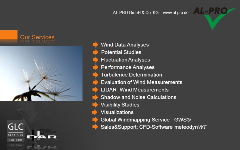 Our Services Wind Data Analyses Potential Studies Fluctuation Analyses