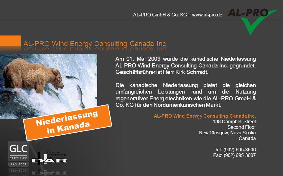 Niederlassung in Kanada AL-PRO Wind Energy Consulting Canada Inc.