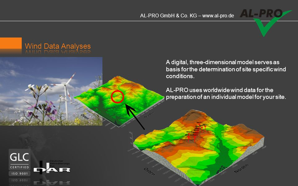 Wind Data Analyses A digital, three-dimensional model serves as basis for the determination of site specific wind conditions.