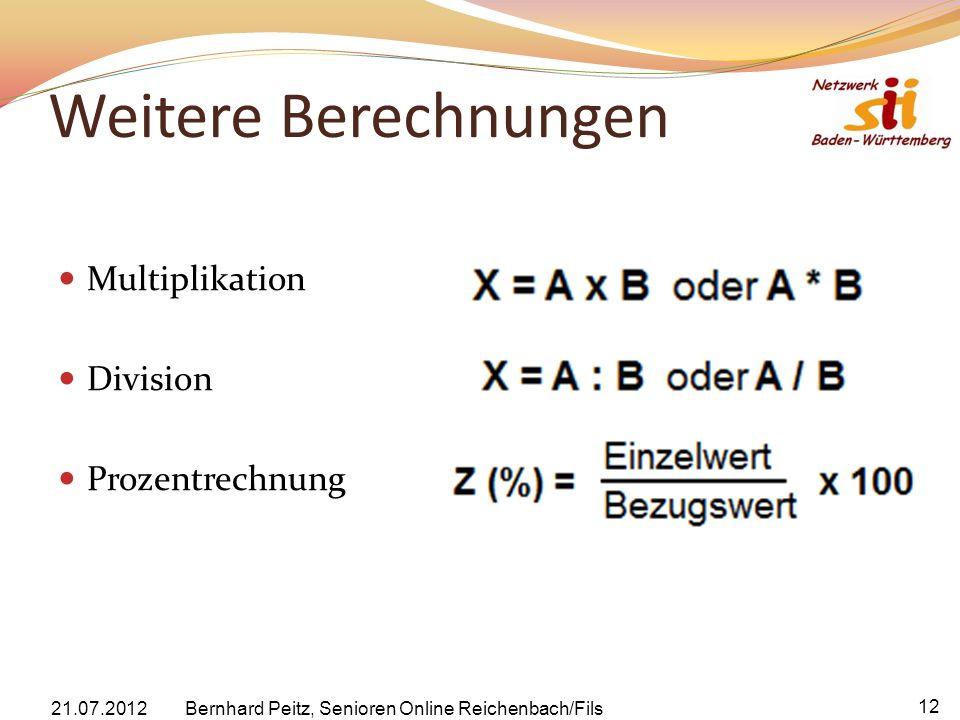 Weitere Berechnungen Multiplikation Division Prozentrechnung