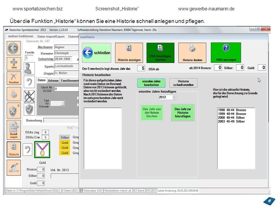 """www.sportabzeichen.biz Screenshot """"Historie www.gewerbe-naumann.de"""