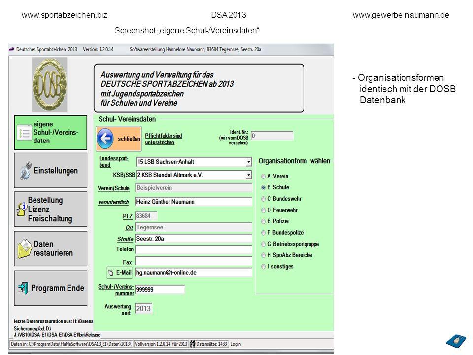Organisationsformen identisch mit der DOSB Datenbank