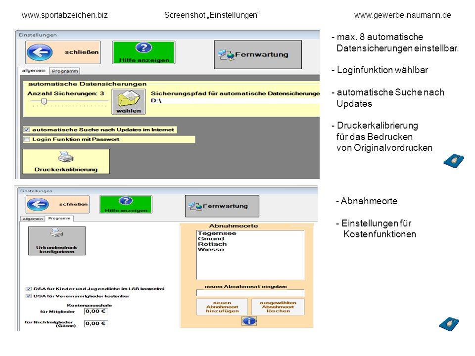 max. 8 automatische Datensicherungen einstellbar.