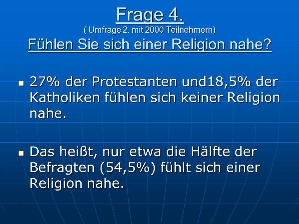 Frage 4. ( Umfrage 2. mit 2000 Teilnehmern) Fühlen Sie sich einer Religion nahe