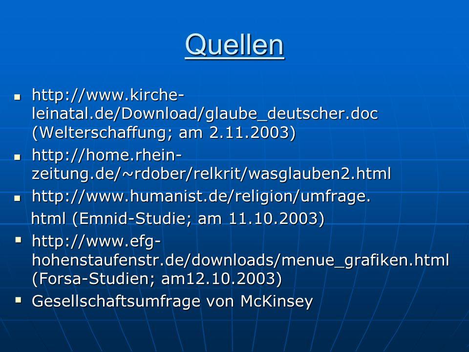 Quellen http://www.kirche-leinatal.de/Download/glaube_deutscher.doc (Welterschaffung; am 2.11.2003)
