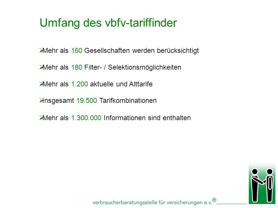 Umfang des vbfv-tariffinder