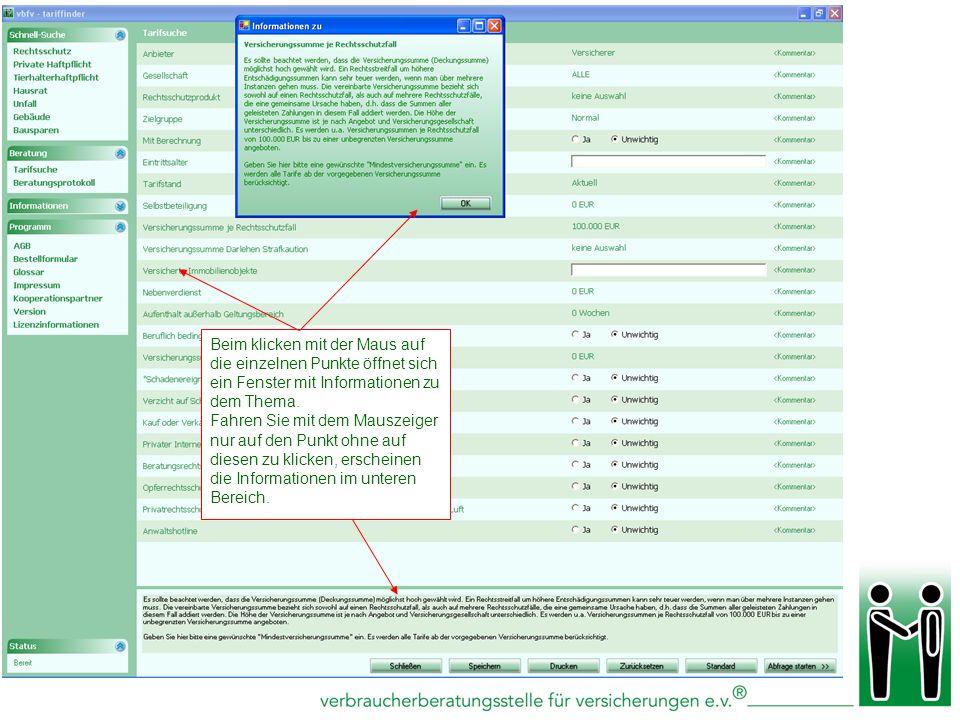 Beim klicken mit der Maus auf die einzelnen Punkte öffnet sich ein Fenster mit Informationen zu dem Thema.