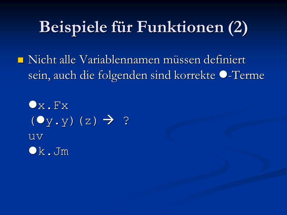 Beispiele für Funktionen (2)