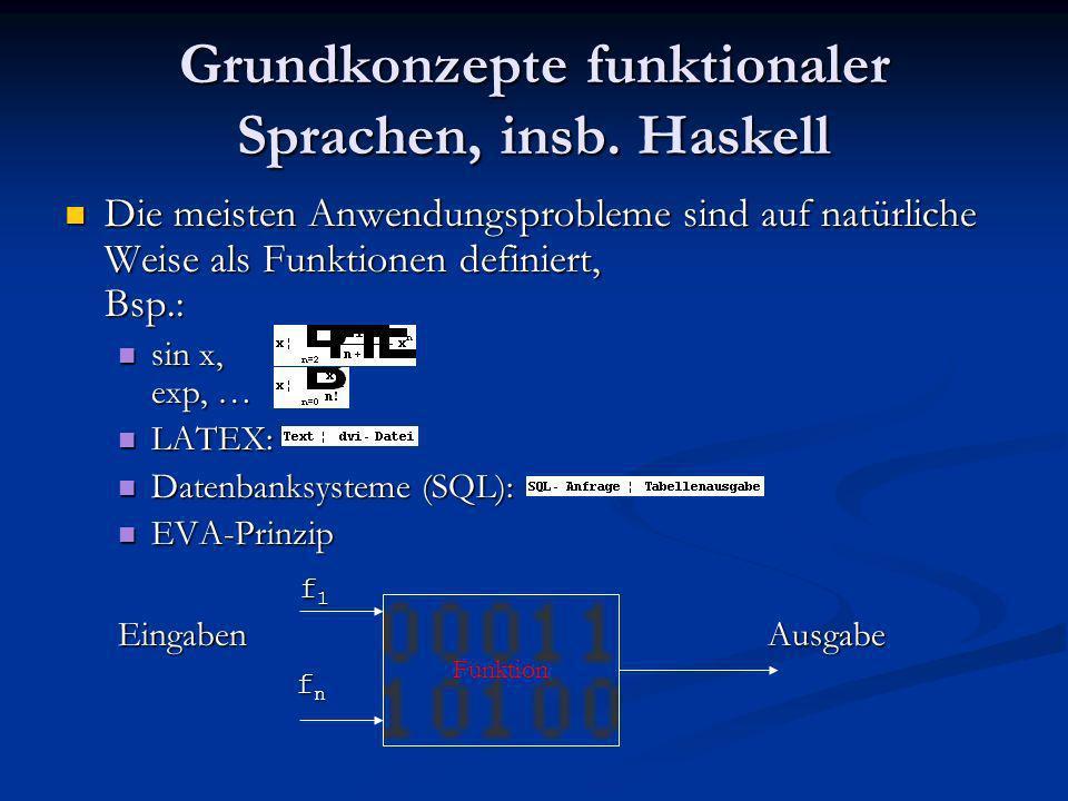 Grundkonzepte funktionaler Sprachen, insb. Haskell