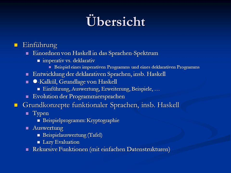 Übersicht Einführung. Einordnen von Haskell in das Sprachen-Spektrum. imperativ vs. deklarativ.