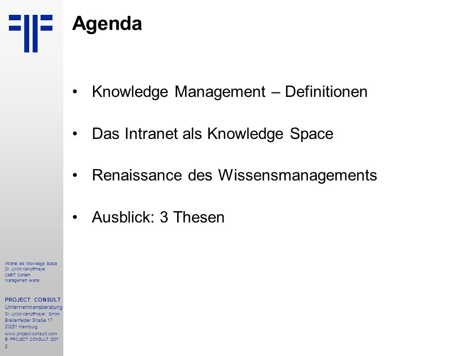 Agenda Knowledge Management – Definitionen