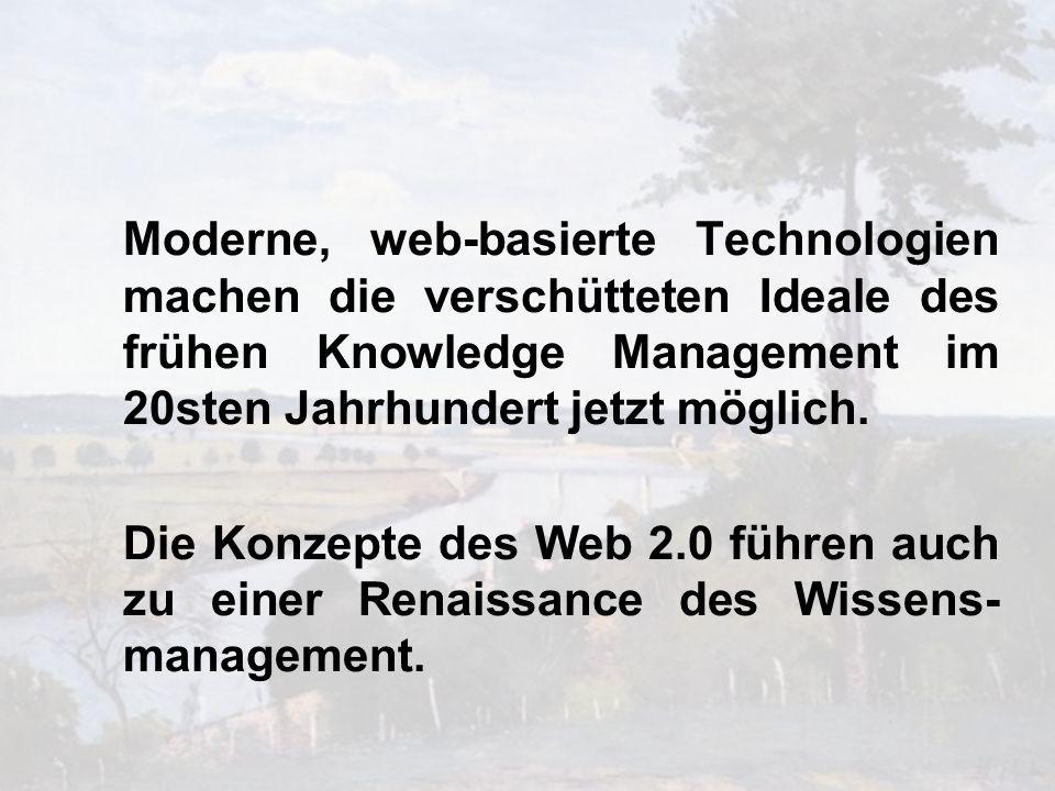 Moderne, web-basierte Technologien machen die verschütteten Ideale des frühen Knowledge Management im 20sten Jahrhundert jetzt möglich.