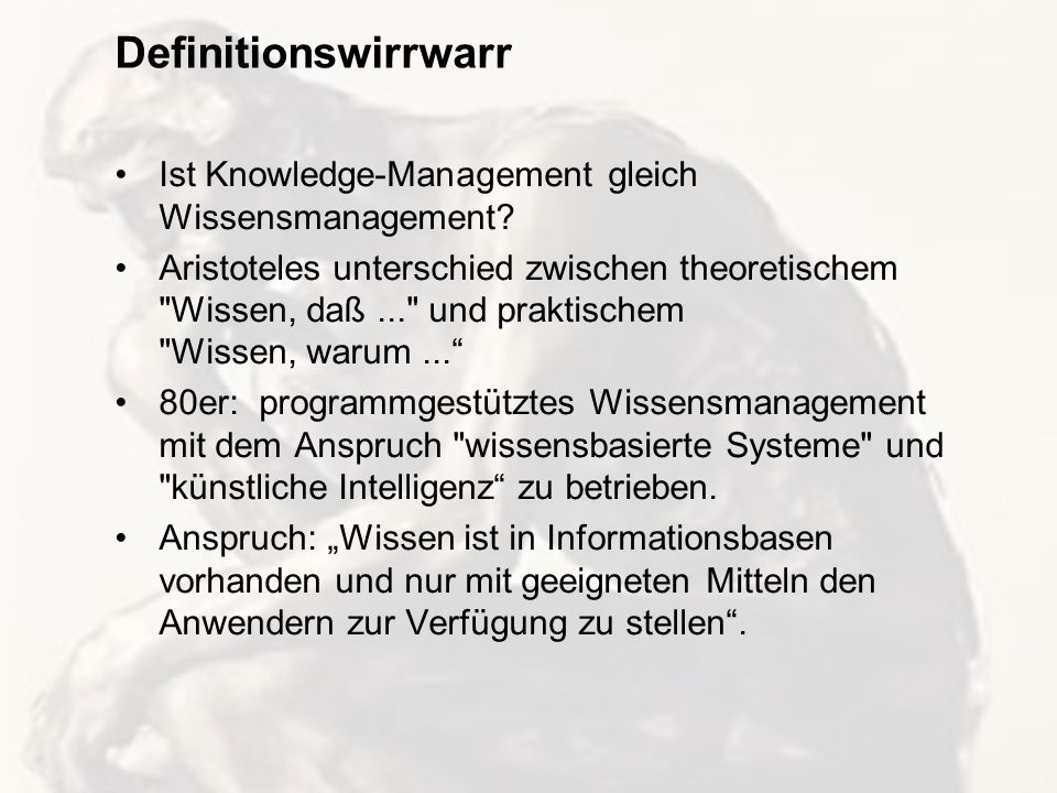 Definitionswirrwarr Ist Knowledge-Management gleich Wissensmanagement