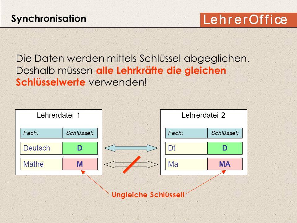 Synchronisation Die Daten werden mittels Schlüssel abgeglichen. Deshalb müssen alle Lehrkräfte die gleichen Schlüsselwerte verwenden!