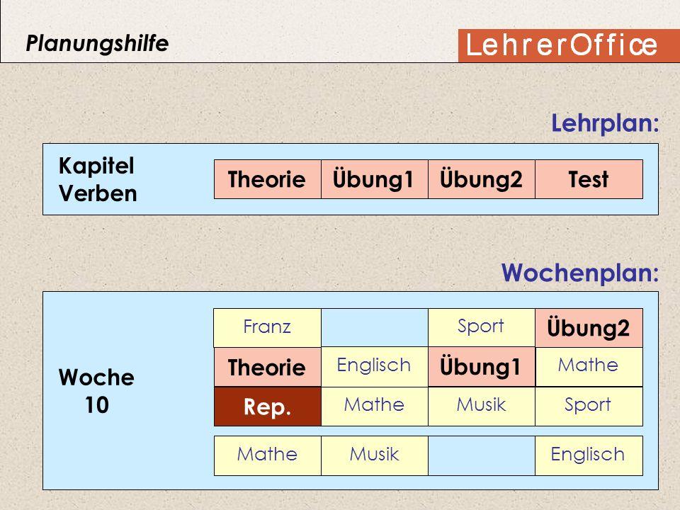 Lehrplan: Wochenplan: Planungshilfe Kapitel Verben Theorie Übung1