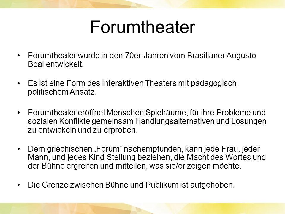 Forumtheater Forumtheater wurde in den 70er-Jahren vom Brasilianer Augusto Boal entwickelt.