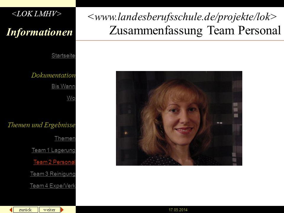 Zusammenfassung Team Personal